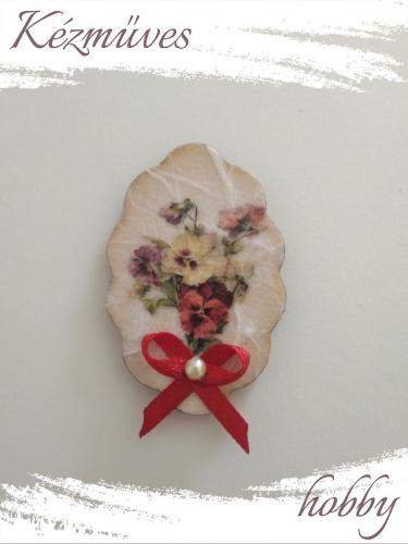 Quilling ajándék - Virágos - Hűtőmágnes - Virágcsokor - Virágos hűtőmágnes