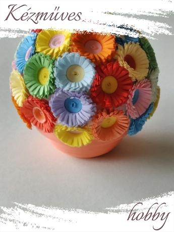 Quilling ajándék - Cserepes kisvirágok - Virág kavalkád - Quilling Cserepes kisvirág