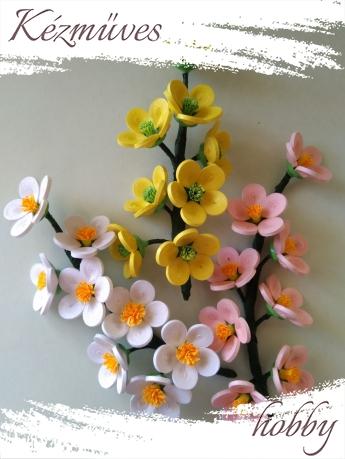 Quilling ajándék - Virágfejek - Virágos ág