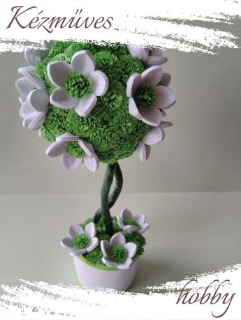 Quilling ajándék - Cserepes kisvirágok - Virágzó fa - Quilling Cserepes kisvirág