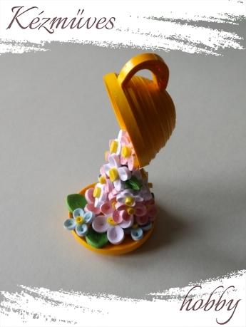 Quilling ajándék - Asztaldíszek - Virág zuhatag - Quilling Asztaldísz