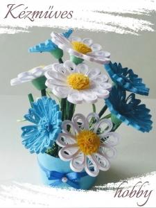 Quilling ajándék - Cserepes kisvirágok - A rét királynői - Quilling Cserepes kisvirágok