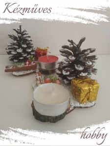 Quilling ajándék - Karácsonyi asztaldísz - Ovális táblás - Karácsonyi asztaldísz (piros - arany)