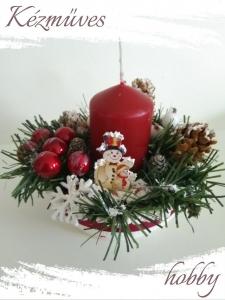 Quilling ajándék - Karácsonyi asztaldísz - Bordó gyertyás - Karácsonyi asztaldísz