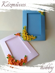 Quilling ajándék - Quilling termékek - Díszített képtartó kék-fehér - Quilling képeslap, fényképtartó