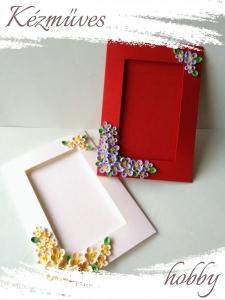 Quilling ajándék - Quilling termékek - Díszített képtartó piros-törtfehér - Quilling képeslap, fényképtartó