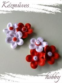 Quilling ajándék - Virágos - Hűtőmágnes - Fehér és vörös hűtőmágnes - Quilling hűtőmágnes