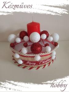 Quilling ajándék - Karácsonyi asztaldísz - Fehér-piros rácsos - Karácsonyi asztaldísz
