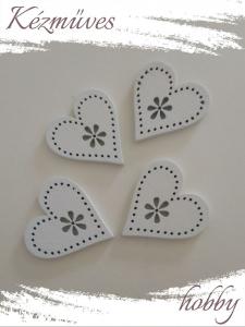 Quilling ajándék - Kellékek - Fehér szív (kicsi) - Lézer vágott fa táblák