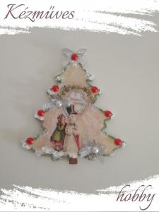 Quilling ajándék - Karácsony, Tél - Hűtőmágnes - Karácsonyfa - Karácsonyi hűtőmágnes