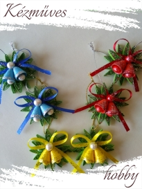 Quilling ajándék - Karácsonyfa dísz - Karácsonyi csengő - Karácsonyfa dísz