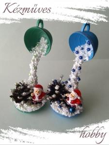 Quilling ajándék - Karácsonyi asztaldísz - Varázslat (kék-zöld) - Karácsonyi asztaldísz