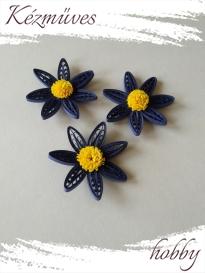 Quilling ajándék - Virágfejek - Kék-sárga - virágfejek