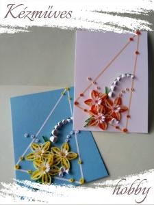 Quilling ajándék - Quilling termékek - Képeslap kék-fehér - Quilling képeslap, fényképtartó