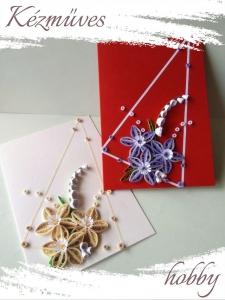 Quilling ajándék - Képeslap, fényképtartó - Képeslap piros-törtfehér - Quilling képeslap, fényképtartó