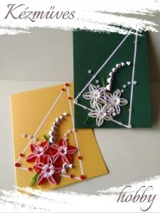 Quilling ajándék - Képeslap, fényképtartó - Képeslap zöld-gyöngyházfényű sárga - Quilling képeslap, fényképtartó