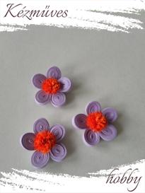 Quilling ajándék - Virágfejek - Lila-narancs - virágfejek