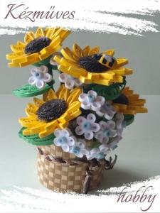 Quilling ajándék - Quilling termékek - Napraforgó kosárban - Quilling Cserepes kisvirágok