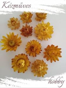 Quilling ajándék - Kellékek - Szalmarózsa (sárga) - Szárazvirág kellékek
