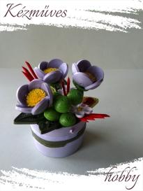 Quilling ajándék - Cserepes kisvirágok - Tavaszi tündöklés - Quilling Cserepes kisvirág